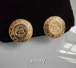 VINTAGE GIVENCHY PARIS NEW YORK GOLD TONE Iconic Coin Logo CLIP EARRINGS