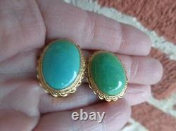 VINTAGE TURQUOISE CABOCHON 14K YELLOW GOLD CLIP ON EARRINGS ESTATE 12.1 grams