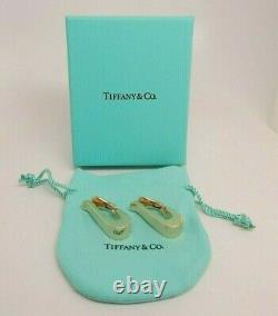 VINTAGE Women's TIFFANY & Co. 18K Yellow Gold Clip On J Hoop Earrings 16.5 Gr