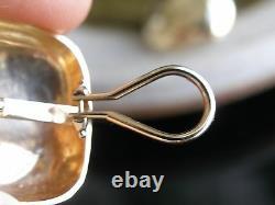 VTG 14k Yellow Gold Bold Pillow Shaped Hammered Finish, Clip Earrings 18 gram