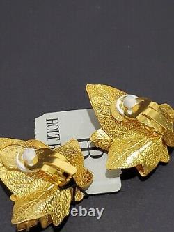 VTG Dominique Aurientis Paris France Golden Leaf & Crystals Clip On Earrings