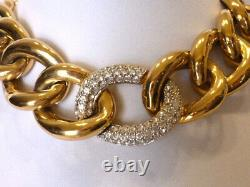 VTG GIVENCHY runway CHUNKY gold link CHOKER NECKLACE with matching clip earrings