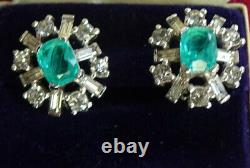 VTG Jomaz Joseph Mazer Faux Emerald & Diamond Silver Rhodium Plate Clip Earrings