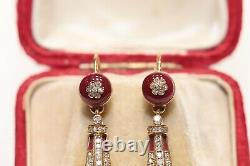 Victorian Time Style New Made 14k Gold Natural Diamond Enamel Decorated Earring