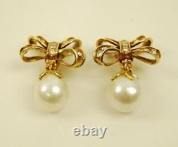 Vintage 14K Yellow Gold Diamond BOW Clip-On Earrings with Removable Pearls