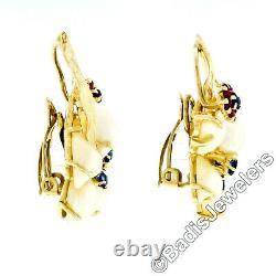 Vintage 14k Gold 1.20ctw Pearl Ruby & Sapphire Flower Cluster Clip On Earrings