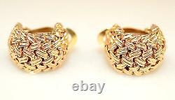 Vintage 14k Yellow Gold Basket Weave. 5 Inch Wide Half Hoop Clip Earrings 9.8 Gr