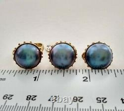 Vintage 14k Yellow Gold Classic Large Mabe Pearl Set Ring Clip Pierced Earrings