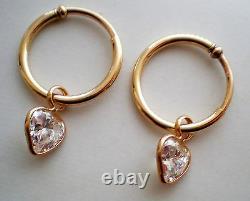 Vintage 14k Yellow Gold Hoop Clip On Earrings 2 Pairs CZ Moon Heart Charm Set