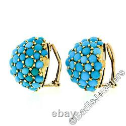 Vintage 18k Gold Cabochon Turquoise Cluster Dome Bombe Clip On Button Earrings