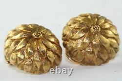 Vintage 1950's 14k Gold Textured Petal Flower Clip Earrings 12 Grams