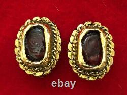 Vintage 1970's CHANEL Red Gripoix Poured Glass Clip On Earrings