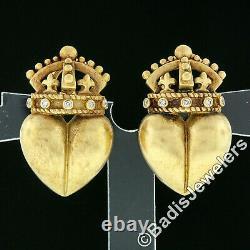 Vintage 1987 Kieselstein Cord 18k Gold Heart & Crown Diamond Clip On Earrings