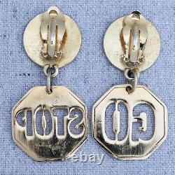 Vintage 1990s Moschino Bijoux Gold Go Stop Sign Drop Dangle Clip On Earrings