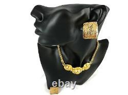 Vintage 80s-90s YSL Yves Saint Laurent Necklace & Clip Earrings & Original Case