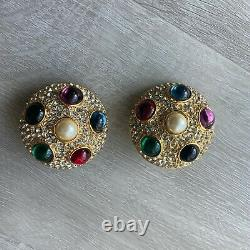 Vintage 80s Deadstock Gold Gripoix Byzantine Style Clip Earrings Signed Blanca