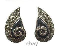 Vintage Art Deco Sterling 925 Pear Curved Swirl Onyx Marcasite Clip On Earrings