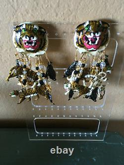 Vintage Authentic Lunch at the Ritz Clip Earrings, Rare Big Cats