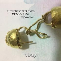 Vintage Authentic Tiffany & Co Paloma Picasso Kiss X Hammered 18k Gold Earrings