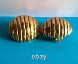 Vintage Boucles d'Oreilles Clips Dorées YSL Yves Saint Laurent