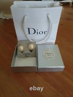 Vintage Boxed Christian Dior Faux Pearl Clip On Earrings. Bijoux. Germany