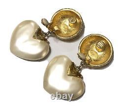 Vintage CAROLEE Gold Tone Faux Pearl Heart Dangle Clip On Earrings