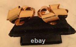 Vintage CHRISTIAN DIOR Gold Tone Bow Ribbon Clip On Earrings Rare