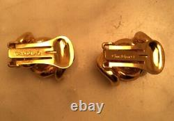 Vintage CHRISTIAN DIOR Gold Tone Curb Link Half Hoop Clip On Earrings Excellent