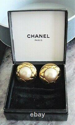 Vintage Chanel Clip On Earrings With Box Faux Pearl Cabochon Earrings