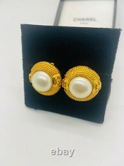 Vintage Chanel Faux Pearl Earrings Clip CC Logo With Gold Tone