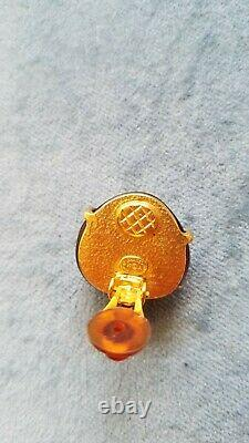 Vintage Chanel Gripoix Glass Red Amber Heart CC Logo Clip On Earrings