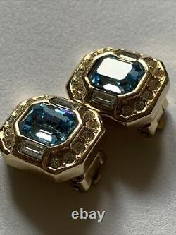 Vintage Christian Dior By Grosse Crystal Clip On Earrings