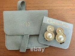 Vintage Christian Dior Germany Clip On Earrings Gold tone Rhinestones Pearl MINT