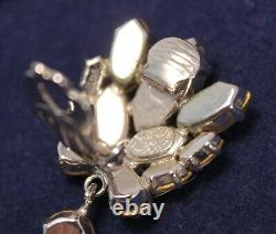Vintage Christian Dior Marquise Rhinestone Drop Clip On Earrings Germany 1964