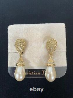 Vintage Christian Dior Rhinestone Pearl Drop Clip On Gold Earrings