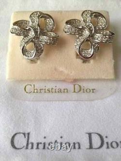 Vintage Christian Dior Rhodium Crystal Clip Earrings Brand New Never Worn