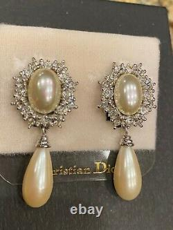 Vintage Christian Dior Signed Crystal Pearl Silver Tone Dangle Clip Earrings