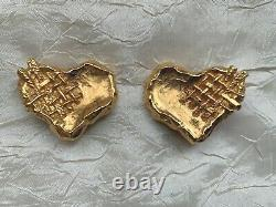 Vintage Christian LACROIX Clip-on Earrings Canework on the upper right corner