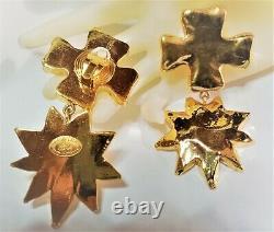 Vintage Christian Lacroix Paris Runway Massive Cross and Sun Clip Earrings