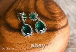 Vintage Ciner Clip-On Earrings Green Gripoix Cabochon Rhinestone Silver-Tone