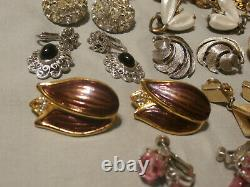 Vintage Clip On Earrings Lot of 16 Pair Rhinestone Crystal Signed Lisner Vendome