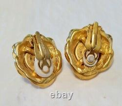 Vintage Designer GIVENCHY PARIS /NEW YORK Runway Signed Faux Pearl Earrings