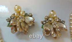 Vintage Early Unsigned Miriam Haskell Pearl Necklace Earrings Clip On Set