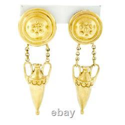 Vintage Elizabeth Locke 18k Gold Long Dangle Amphora Clip On or Post Earrings