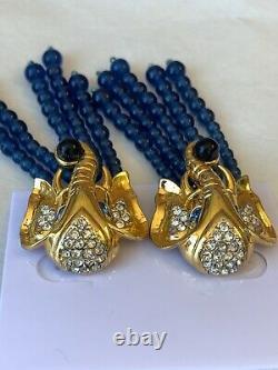 Vintage Elizabeth for Taylor Avon Rhinestone Blue Glass Elephant Clip Earrings