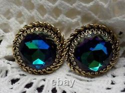Vintage Elsa Schiaparelli Gold Tone & Blue Green Watermelon Rivoli Clip Earrings