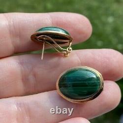 Vintage Estate Green Malachite 14k Gold Omega Clip Stud Earrings