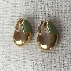 Vintage GIVENCHY Earrings Oval Gold Tone Jade Green Color Clip-on 1976