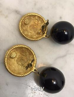 Vintage GIVENCHY Gold Tone Dangle Black Stone Clip On Earrings Rare
