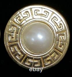 Vintage Givenchy Logo Gold Tone Faux Pearl Couture Statement Clip Earrings 1 1/4